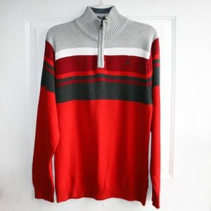 Nautica Boys' 1/4 Zip Striped Sweater Size: XL